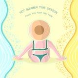 Achtergrond de zomertijd met meisje op strand Royalty-vrije Stock Afbeelding