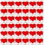 Achtergrond die van glastegels wordt gemaakt met harten Stock Afbeelding