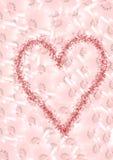 Achtergrond die van roze bloemen en een groot hart wordt gemaakt vector illustratie