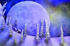 Achtergrond die van volle maan over fantasielandschap toenemen Stock Afbeelding