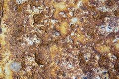 Achtergrond en Behang of textuur van Oude roestige ijzerplaat of Roestige metaaloppervlakte Stock Foto