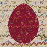 Achtergrond en Ei met een vrolijk abstract patroon Royalty-vrije Stock Afbeeldingen
