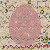 Achtergrond en Ei met een vrolijk abstract patroon Stock Fotografie