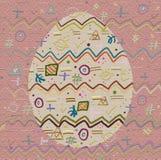Achtergrond en Ei met een vrolijk abstract patroon Royalty-vrije Stock Foto's