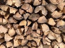 Achtergrond en houten boomstammen en ringen van hout royalty-vrije stock foto