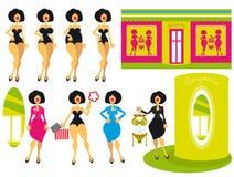 Achtergrond en pictogrammen van vrouw en meisje bij shoppi Stock Foto's