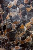 Achtergrond en textuur van steen in de muur Stock Foto