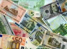 Achtergrond Euro, Amerikaanse dollars en Witrussische roebels Stock Fotografie