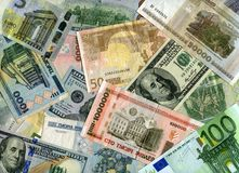 Achtergrond Euro bankbiljetten, Amerikaanse dollars en Witrussische munt (oneffenheid Stock Afbeelding