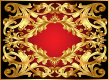 Achtergrond frame met gouden patroon stock illustratie