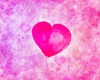 Achtergrond - Gekleurde stijl, roze met textuur en hart Stock Foto