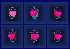 Achtergrond, harten met stereoscopische bloemen, illusie, hulp, blauw, samenvatting, illustratie, vector, royalty-vrije illustratie