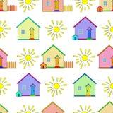 Achtergrond, huizen en zon vector illustratie