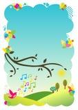 Achtergrond illustratie - het zingen vogel Royalty-vrije Stock Afbeelding