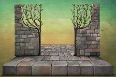 Achtergrond of illustratie met appelbomen. royalty-vrije illustratie