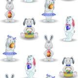Achtergrond, konijnen met Paasei stock illustratie