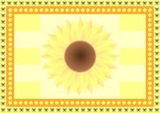Achtergrond met één grote zonnebloem, uiterst kleine bloemen en vlinders Stock Fotografie