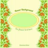 Achtergrond met abstract bloemenpatroon en ovaal deel voor uw tekst Royalty-vrije Stock Foto