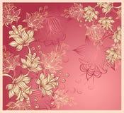 Achtergrond met abstracte bloemen op roze Royalty-vrije Stock Afbeeldingen