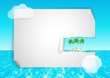 Achtergrond met abstracte oceaan, blauwe hemel, tro Stock Afbeeldingen