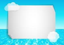 Achtergrond met abstracte oceaaneind blauwe hemel Stock Afbeelding