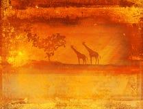 Achtergrond met Afrikaanse fauna en flora Stock Afbeelding
