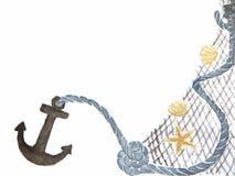 Achtergrond met anker - zeevaartelementen royalty-vrije illustratie