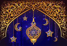 Achtergrond met Arabische Lantaarn Stock Afbeeldingen