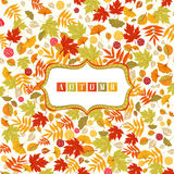 Achtergrond met Autumn Leaves Pattern And Banner Royalty-vrije Illustratie