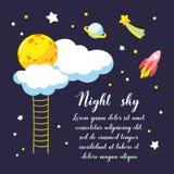Achtergrond met beeldverhaalvolle maan, wolken en andere kosmische voorwerpen in de nachthemel royalty-vrije illustratie