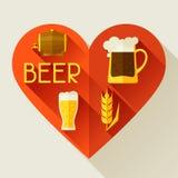 Achtergrond met bierpictogrammen en voorwerpen in vlakte Royalty-vrije Stock Afbeelding