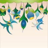 achtergrond met blauwe abstracte bloemen Stock Fotografie