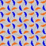 Achtergrond met blauwe en oranje veren Stock Afbeeldingen