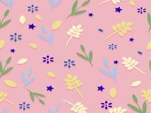 Achtergrond met bloemen en bladeren en sterren Royalty-vrije Stock Afbeelding