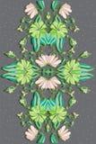 Achtergrond met bloemen en bladeren op een grijze achtergrond Stock Afbeelding