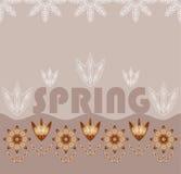Achtergrond met bloemen en de woordenlente Stock Afbeeldingen