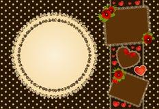 Achtergrond met bloemen en kantornament Royalty-vrije Stock Foto