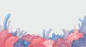 Achtergrond met bloemen en koralen in roze en blauwe schaduwen Royalty-vrije Stock Afbeeldingen