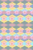 Achtergrond met bloemen en ruiten Naadloos bloemen en geometrisch patroon Stock Foto