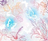 Achtergrond met bloemen en vlinders Stock Afbeelding