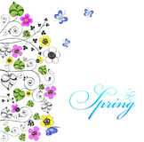 Achtergrond met bloemen en vlinders Stock Foto