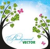 Achtergrond met bloemen en vlinders Royalty-vrije Stock Afbeeldingen