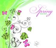 Achtergrond met bloemen en vlinders Royalty-vrije Stock Foto's