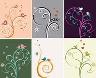 Achtergrond met bloemen en vogels Royalty-vrije Stock Afbeeldingen
