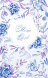 Achtergrond met bloemen Waterverf blauwe succulents Stock Afbeeldingen