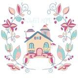 Achtergrond met bloemenkroon en het huis Stock Afbeelding