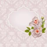 Achtergrond met boeket van rozen met bladeren en kader Stock Foto