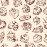 Achtergrond met cakes Stock Afbeeldingen