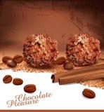 Achtergrond met chocolade Stock Foto's