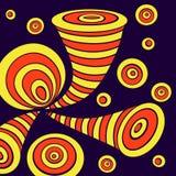 Achtergrond met cirkels van de krabbel de abstracte misvorming in geeloranje op donkerblauw vector illustratie